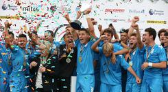 Serie B Italia captain Cerretti Cristian lifts the trophy after defeating Co Down 2-0 during the 2018 SuperCupNI Premier final.