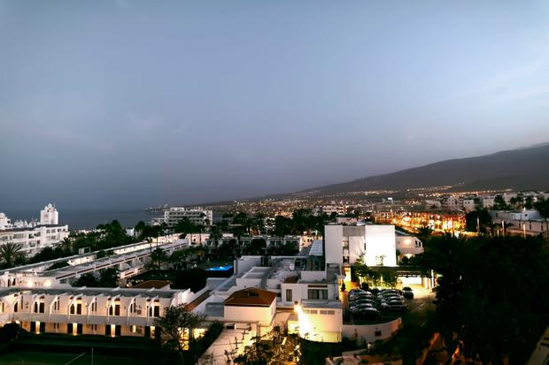 Evening view of the city of Adeje on the island of Tenerife
