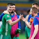 Paddy McNair (left) was the hero for Northern Ireland on what had been a difficult night in Borisov earlier this month.