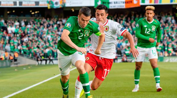 Driving force: Seamus Coleman against Gibraltar on Monday night