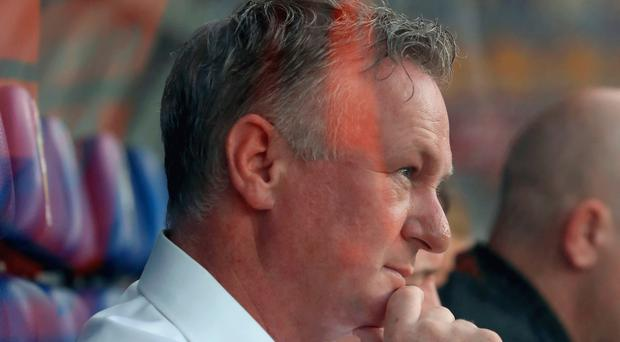 Happy man: Michael O'Neill was delighted with his side
