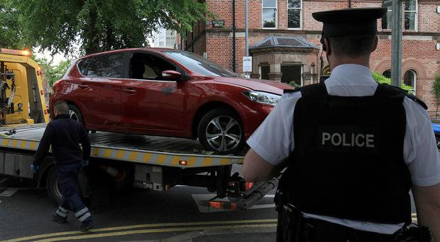 A car with a Republic of Ireland registration has been destroyed in the Botanic area of south Belfast. Picture Colm O'Reilly 12-06-2019