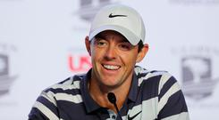 Rory McIlroy speaks to the press ahead of his first round at Pebble Beach.