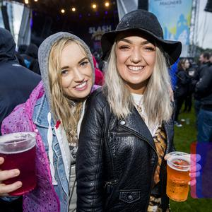 Fans brace the weather to see Slash featuring Myles Kennedy and The Conspirators on the first night of Belsonic (Liam McBurney/RAZORPIX)