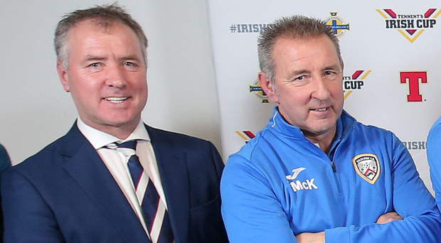 In family: Colin McKendry with his brother Trevor who is part of Coleraine's backroom staff