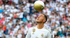 Star attraction: Real Madrid's new signing Eden Hazard is unveiled at the Bernabeu yesterday