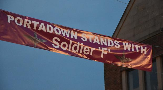 Flags flying in support of Soldier F in Portadown