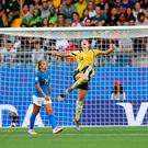 Victory roar: Alanna Kennedy of Australia celebrates following her side's victory