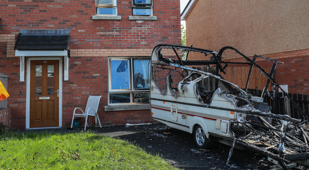 The aftermath of the caravan blaze on Lagmore Avenue yesterday
