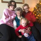 Iris McLean with grandchildren Tara, Dan and Eve (front)