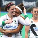 Ireland's Roisin Upton and Elena Tice celebrate after the game. Pic ©INPHO/Bryan Keane