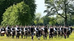 Pacemaker Belfast 15-6-19 UK Pipe Band Championships - Hosted by ABC Council Spectators and competitors braved the inclement summer weather whilst enjoying today's UK Pipe Band Championships at Lurgan Park in Co Armagh. Photo by David Maginnis/Pacemaker Press