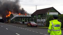 Fire at JP Corry's outside Ballymena. Pic Pacemaker