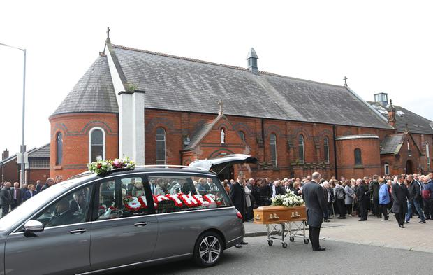 Hundreds of people attend the funeral of Colin McGarry at Sacred Heart Church in the old park area of North Belfast. Pic by Peter Morrison