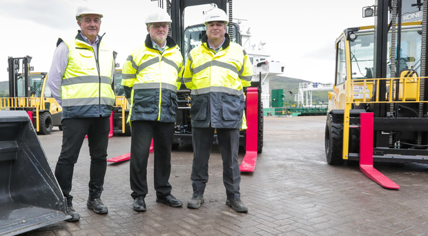 Tom Rodgers, health and safety manager; Ian Taylor,operations manager, and Eoin O'Mahony, head of engineering and estates, at Warrenpoint Port