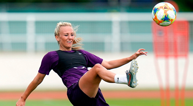 All smiles: England ace Toni Duggan in training at the Women's World Cup