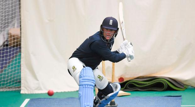 Eoin Morgan in the nets after recovering from back spasms