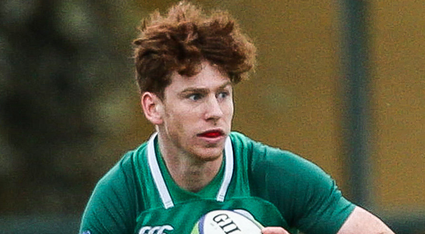 Charging through: Ben Healy on the attack for Irish U20s