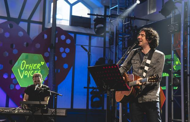Johnny McDaid and Gary Lightbody at the Other Voices in the Duncairn Centre.