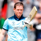 Record-breaker: Eoin Morgan celebrates reaching a century on his way to scoring 148