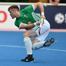 Ton up: Shane O'Donoghue fires home his 100th goal for Ireland in the big win over Singapore