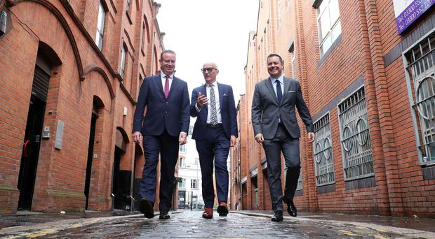 From left, Manufacturing NI's Stephen Kelly, Hospitality Ulster's Colin Neill and Retail NI's Glyn Roberts