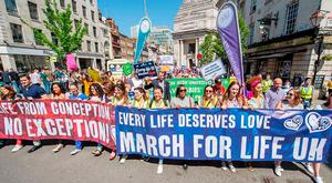 Anti-abortion protesters during a March For Life rally in London last year