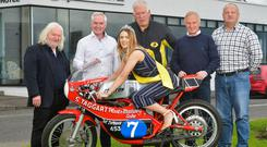 Ready to go: (from left) Jim Dunlop, Trevor Steele, Miss Armoy 2018 Lauren Trotter, Bill Kennedy, Brian Reid and George Farlow at the launch of the 2019 Armoy Road Races