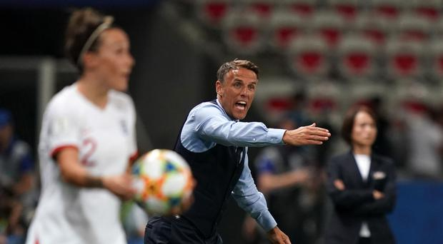England head coach Phil Neville gives instructions during the FIFA Women's World Cup, Group D match at the Stade de Nice.