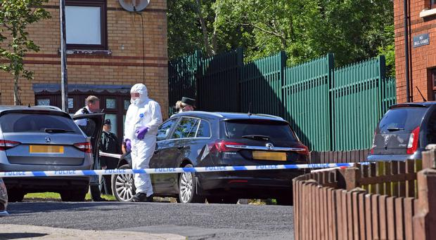 Police are investigating the circumstances around two sudden deaths at a house in the Woodside Drive area of Poleglass in Dunmurry.