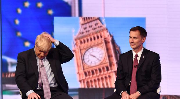 Boris Johnson (left ) and Jeremy Hunt during the BBC TV debate (Jeff Overs/BBC/PA)