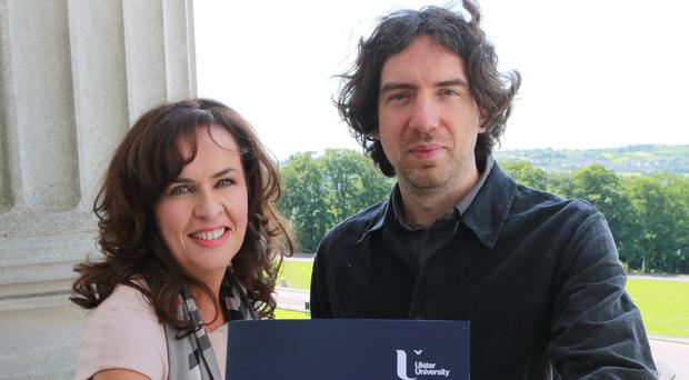 Ulster University's Deirdre Heenan joins Gary Lightbody at the launch of the campaign on mental health in NI