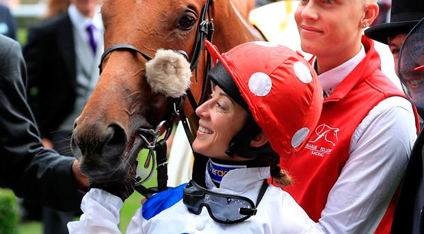 Perfect match: Hayley Turner celebrates with Thanks Be after their win at Royal Ascot