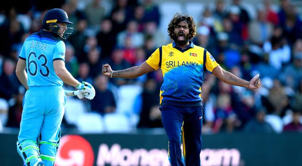 Red hot: Sri Lanka's Lasith Malinga hails the wicket of Jos Buttler