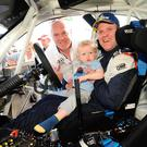 Family man: Manus Kelly after winning the International Rally of the Lakes 2018 with his son Conan and Dermot Healy, Clerk of the Course
