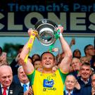 Leading man: captain Michael Murphy lifts the Anglo-Celt Cup