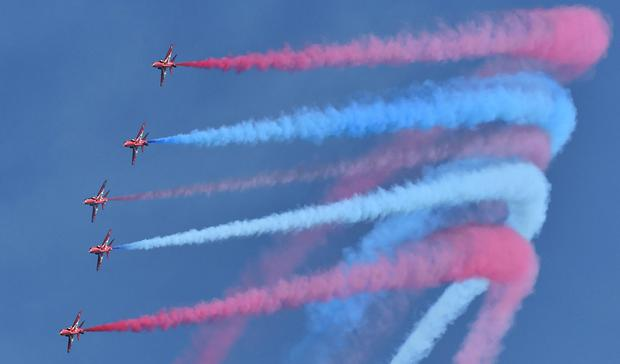 The Red Arrows Display Team flying over Newcastle as part of the Festival of Flight. Photo by Simon Graham Photography