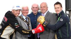 Glove affair: Peter Hickman, Mayor Alan Givan, Noel Johnston, Alderman James Tinsley and Dean Harrison at Dundrod