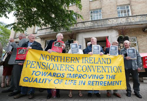 Pensioners hold a protest at BBC Broadcasting house on Ormeau Avenue in Belfast City Centre after the governments decision to take away the free TV license for people over 75-years-old. Picture by Jonathan Porter/PressEye