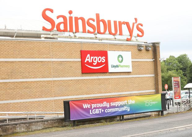 The LGBT support banner at Sainsbury's in Ballymena.