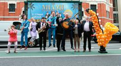 From left: Marie Jones, Gavin Peden, Aileen Mythen, Des Lee, Chris Mohan, Ray Miller, George Jones, Muriel Day and Martin Lynch at the launch of The Miami Showband Story, outside the Grand Opera House in Belfast