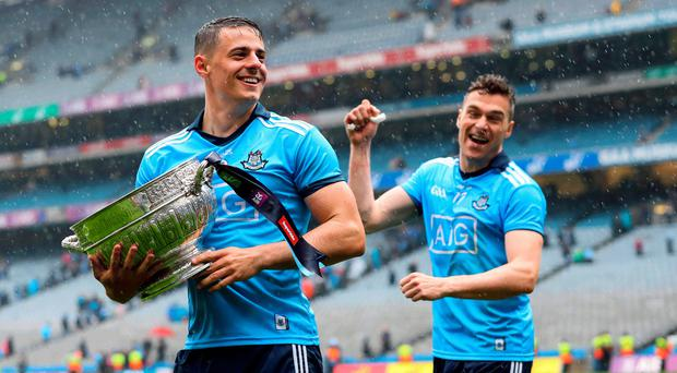Capital gain: Dublin's Brian Howard and Paddy Andrews after Leinster title triumph over Meath on Sunday at Croke Park