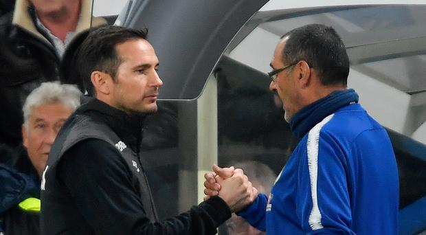 Changing of the guard: Frank Lampard with former Chelsea boss Maurizio Sarri, who recently took over at Juventus