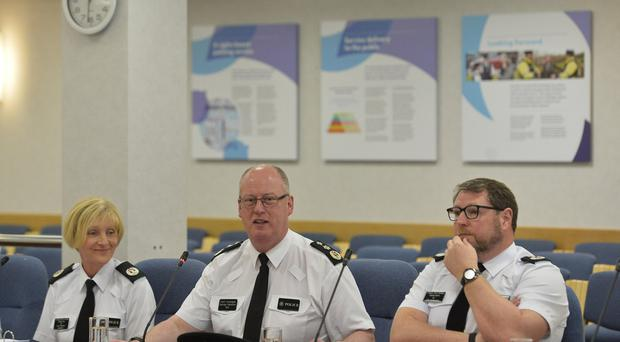Chief Constable George Hamilton answers questions at his final Policing Board meeting at Clarendon Dock before he retires. Pic Colm Lenaghan/Pacemaker