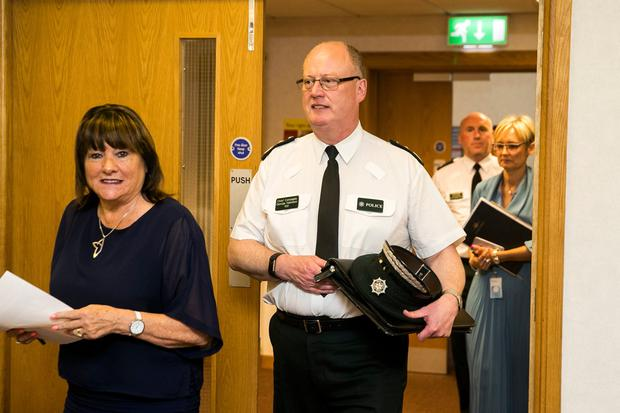 Anne Connolly, Board Chair of the Northern Ireland Policing Board with outgoing PSNI Chief Constable Sir George Hamilton before a meeting of the Policing Board in Belfast. Photo credit: Liam McBurney/PA Wire