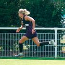 Fitness test: England captain Steph Houghton during training yesterday