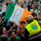 Revellers at the Wolfe Tones gig on the final night of Feile an Phobail last year