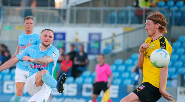 Euro trail: Jude Winchester curls in Ballymena United's second goal