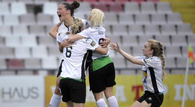 Demi Vance celebrates her first goal in the League Cup final