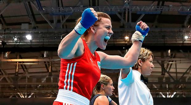 Red-hot stuff: Antrim ace Michaela Walsh celebrates her semi-final victory